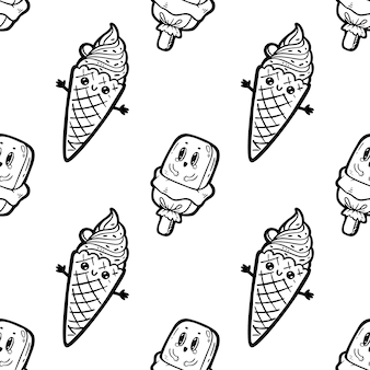 Crème glacée de personnages de doodle de style dessin animé kawaii, modèle sans couture drôle. icône de visage d'émoticône. illustration d'encre noire dessinée à la main, isolée sur fond blanc.