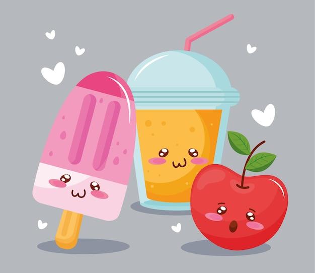 Crème glacée avec des personnages kawaii de jus de fruits et de pommes