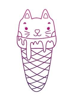 Crème glacée pour chat sucré kawaii à contour dégradé