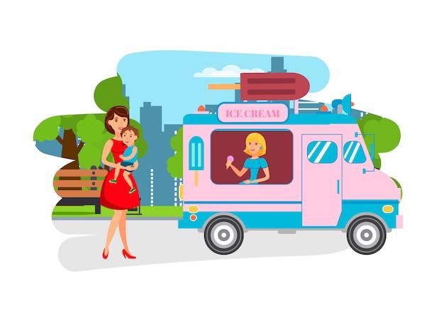Crème glacée pour les enfants dans le parc plat illustration