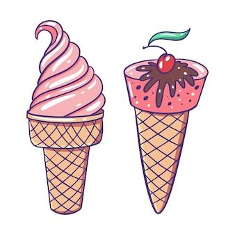 Crème glacée rose dans une tasse à gaufres et un cône. style de dessin animé plat.