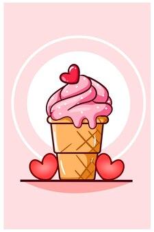 Crème glacée de la saint-valentin avec illustration de dessin animé de petits coeurs