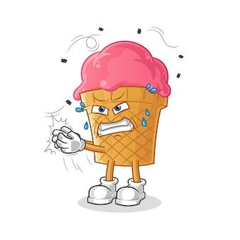 Crème glacée swat la mascotte de dessin animé de personnage