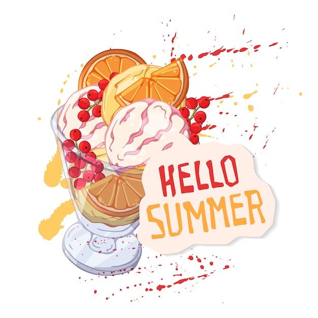 Crème glacée de vecteur dans un bol décoré de baies, de chocolat ou de noix.