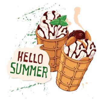 Crème glacée de vecteur dans les cônes de gaufres décorées avec des baies, du chocolat ou des noix.