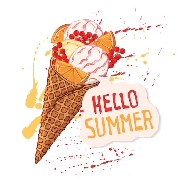 Crème glacée de vecteur dans les cônes de gaufres décorées avec des tranches d'orange