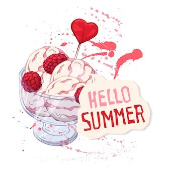 Crème glacée de vecteur dans une coupe en verre décorée de framboises