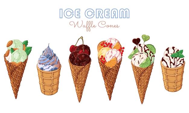 Crème glacée de vecteur décorée de baies, de chocolat ou de noix.