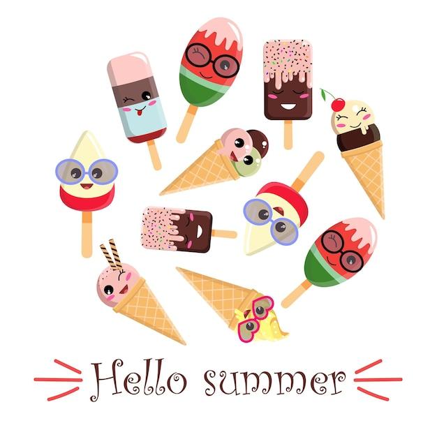 Crème glacée avec des visages. avec l'inscription bonjour l'été.