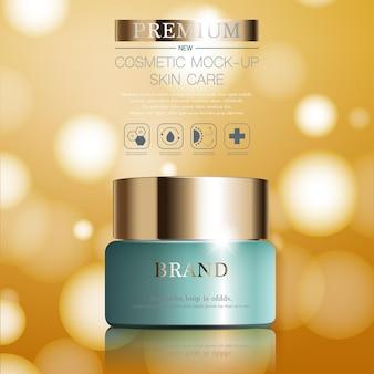 Crème hydratante pour le visage pour vente annuelle ou vente de festival bouteille de masque crème vert et or