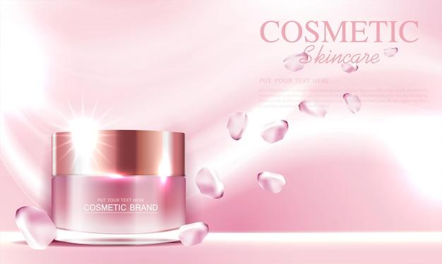 Crème hydratante à la rose pour le visage pour vente annuelle ou vente de festival bouteille de masque crème argentée rouge isolée