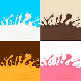 Crème et jus et éclaboussures de chocolat