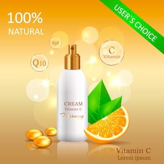 Crème naturelle à la vitamine c vector illustration