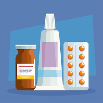Crème et pot de pilules