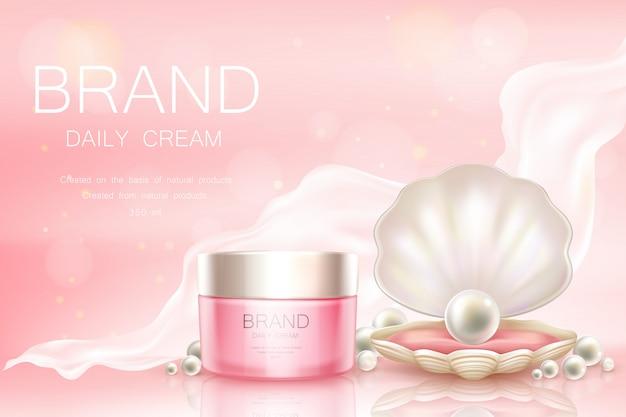 Crème quotidienne de vecteur en pot, fond cosmétique