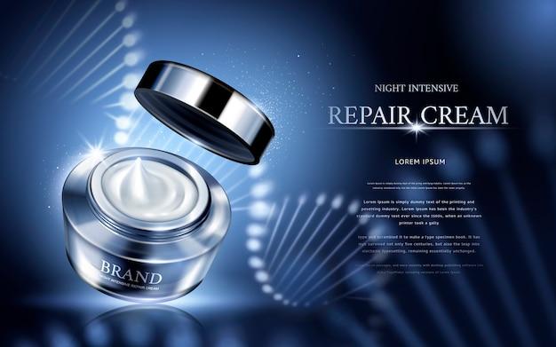 Crème réparatrice intensive de nuit contenue dans un pot cosmétique en argent à structure hélicoïdale