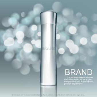 Crème de soin du visage réaliste isolée sur fond bleu bokeh. cosmétique ajouter un modèle de maquette pour la conception d'affiche de vente