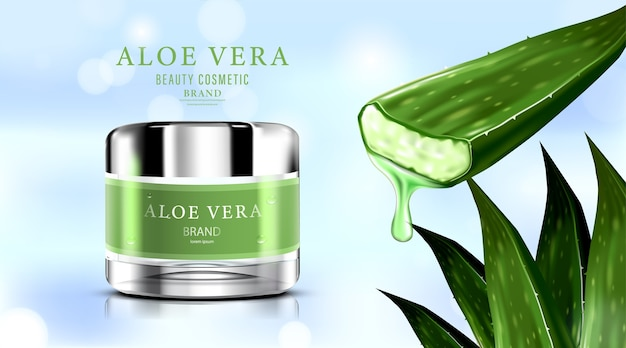 Crème de soin de peau de paquet de bouteille cosmétique de luxe avec l'aloe vera.
