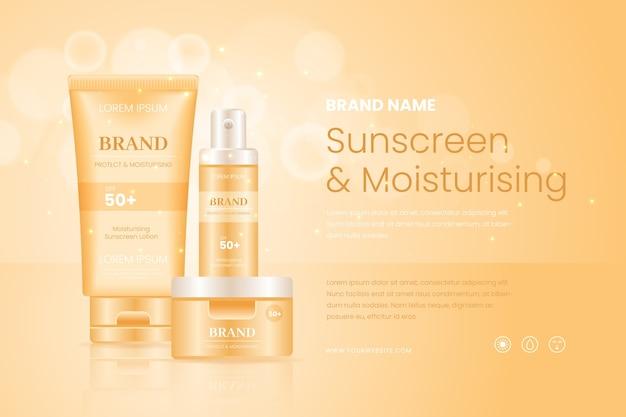 Crème solaire et annonce cosmétique hydratante