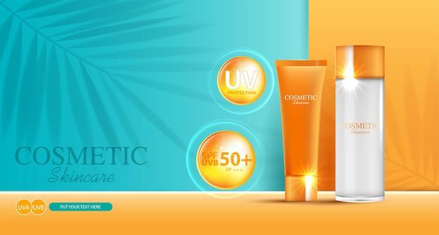 Crème solaire faciale hydratante pour la vente annuelle ou la vente de festival bouteille de masque à la crème orange isolée