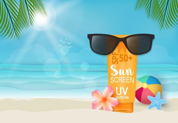 Crème solaire et lunettes de soleil sur l'illustration de fond de la plage