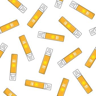 Crème solaire modèle sans couture sur un fond blanc. illustration vectorielle cosmétique de protection solaire