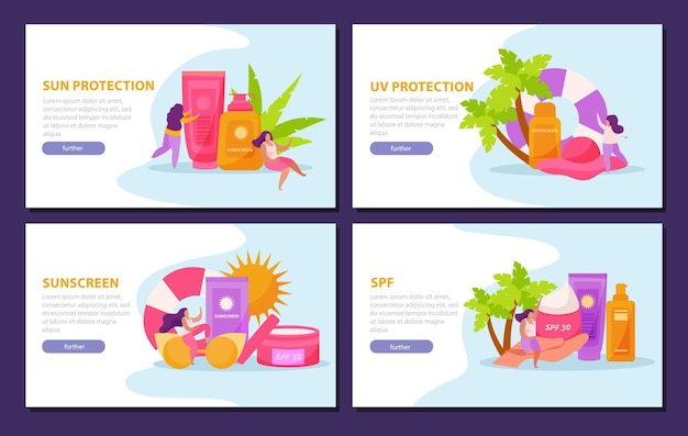 Crème solaire pour les soins de la peau à plat 4x1 ensemble de bannières horizontales avec boutons cliquables texte et images modifiables