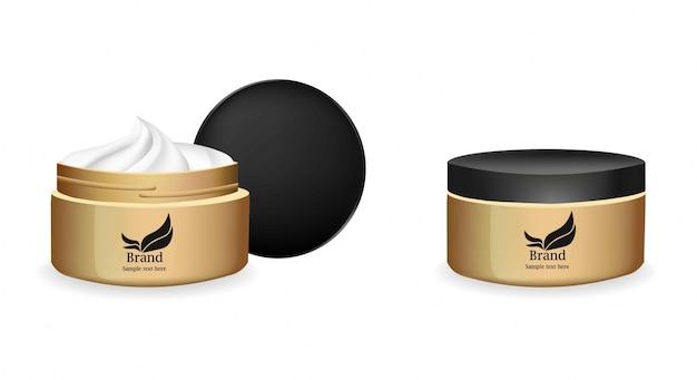 Crème vecteur cosmétiques réalistes. conception d'étiquettes de paquet de produit