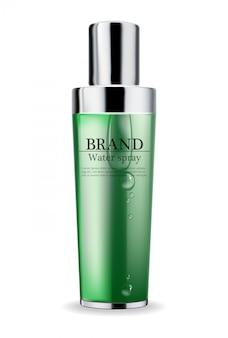 Crème verte cosmétique et spray hydratant