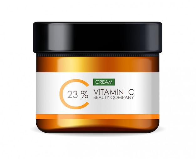 Crème de vitamine c, entreprise de beauté, flacon de soins de la peau, emballage réaliste et agrumes frais, essence de traitement, cosmétiques de beauté