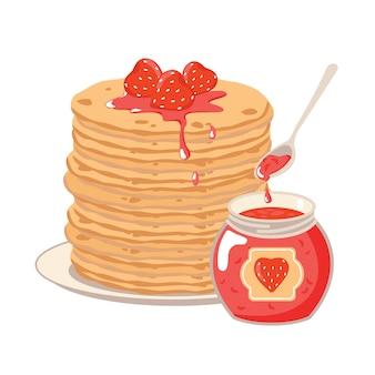 Crêpes sur une assiette avec de la confiture de fraises.