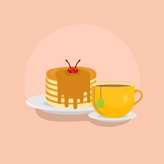 Crêpes avec illustration de thé chaud. concept de clipart de restauration rapide isolé. vecteur de style dessin animé plat