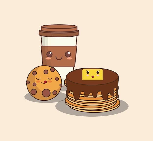 Crêpes kawaii avec des biscuits et une tasse de café