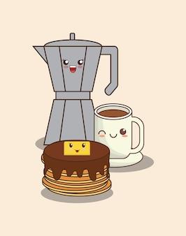 Crêpes kawaii avec des icônes liées au café