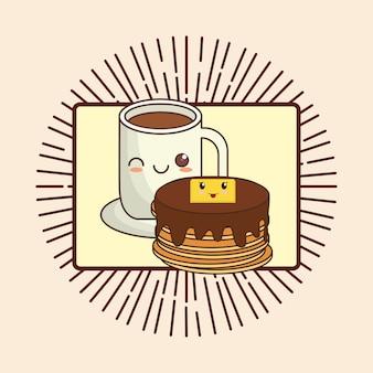 Crêpes kawaii et tasse de café