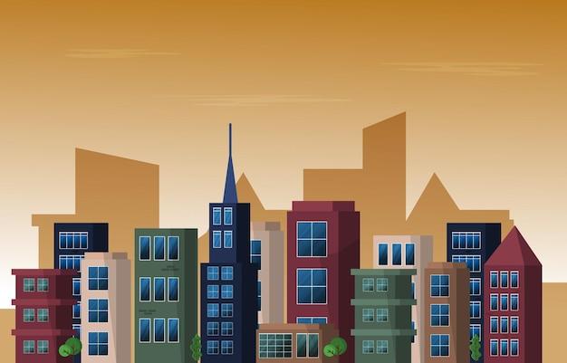 Crépuscule après-midi ville gratte-ciel urbain bâtiment paysage urbain illustration design plat