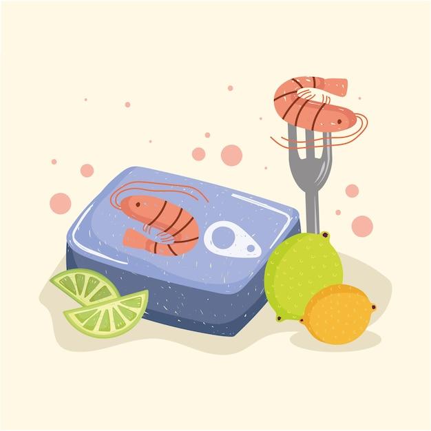 Crevettes et fruits en conserve