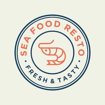 Crevettes de fruits de mer pour la conception de logo de ligne de restaurant