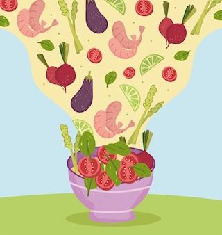 Crevettes et légumes mélangés