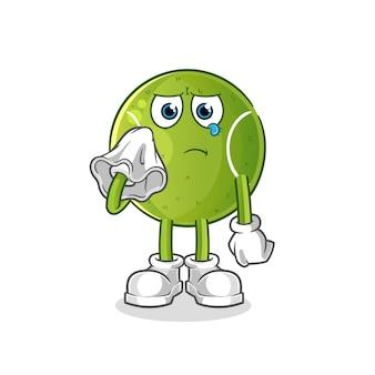Cri de tennis avec un caractère de tissu. mascotte de dessin animé