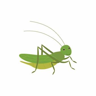 Cricket drôle de dessin animé. illustration vectorielle isolée sur fond blanc. eps10