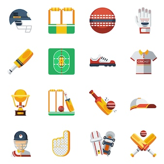 Cricket icons set