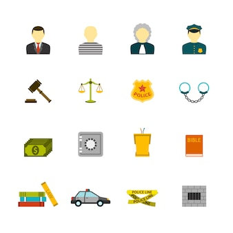 Crime and punishments icons set