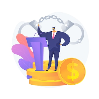 Crime politique. personnage de dessin animé d'avocat dans un costume d'affaires se dresse sur le podium avec des microphones. événement important, conférence, menottes.