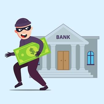 Le criminel avec de l'argent sort de la banque qui a volé. illustration de caractère plat.