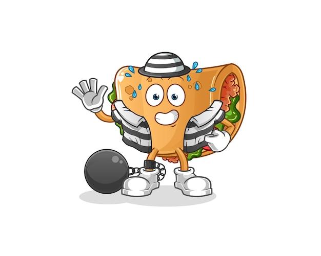 Criminel de burrito. personnage de dessin animé