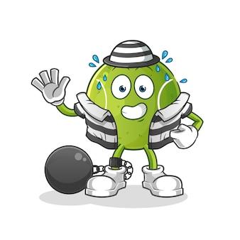 Criminel de tennis. personnage de dessin animé