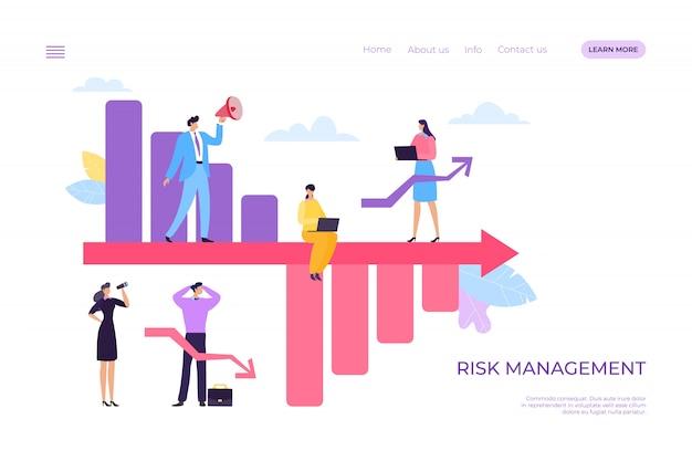 Crise des bénéfices des entreprises et gestion des pertes de risques, illustration. graphique de déclin financier, graphique de baisse économique de dessin animé.