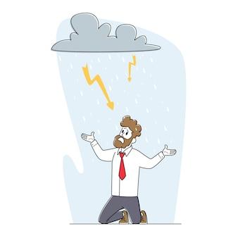 Crise, concept de problèmes professionnels. un homme d'affaires frustré à genoux souffre sous un nuage pluvieux avec des lampes de poche étincelantes au-dessus de la tête