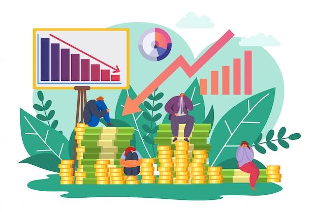 Crise financière, économie en baisse graphique illustration. finances chute et dépression, flèche de graphique de déclin de dessin animé économique.